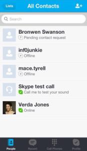 skype lista kontakta