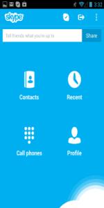 skype android meni